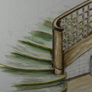 Entwurf eines stehenden Krümmlingspfosten