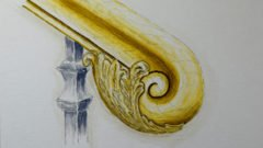 Handlaufschnecke mit geschnitztem Blätterwerk