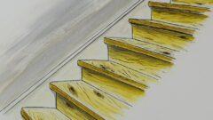 Eingestemmte Treppen zwischen zwei Wänden